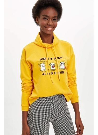 DeFacto Kedi Baskılı Sweatshirt Sarı